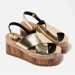 Zara Metallic Gold Wedge Sandals